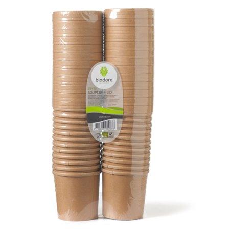 Paper Soup Cup brown 350cc 12oz with Lid Biodore - Horecavoordeel.com