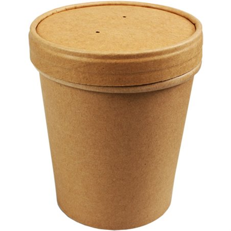 Paper Soup Cup brown 473cc 16oz with Lid (Small package) - Horecavoordeel.com