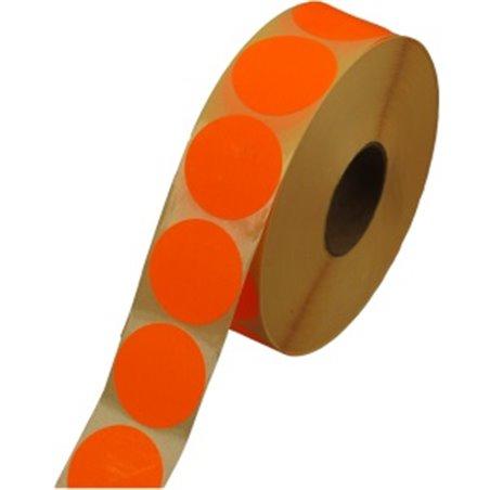 Etiketten - Labels Zelfklevend Oranje Permanent Fluor Rond 35mm Horecavoordeel.com