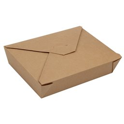 "Lunch Box Cardboard ""Pure"" 1500ml 4,8cm x 14cm x 19,7cm Brown - Horecavoordeel.com"