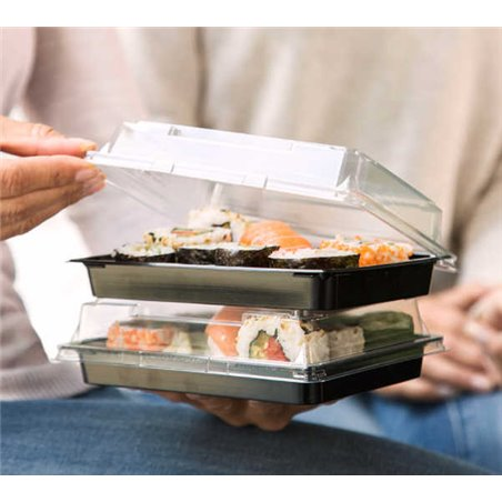 Sushi Schaaltjes Nr.14 PET Zwart + Antifog Deksels Pet Transparant 170 x 90 x 17mm (410)